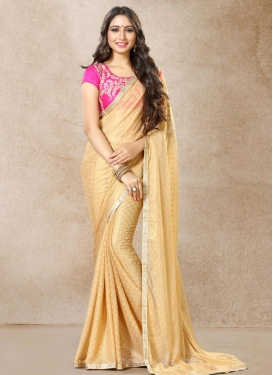 Embroidered Work Cream and Rose Pink Contemporary Style Saree