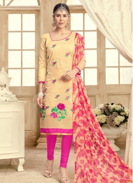 Embroidered Work Cream and Rose Pink Straight Salwar Kameez