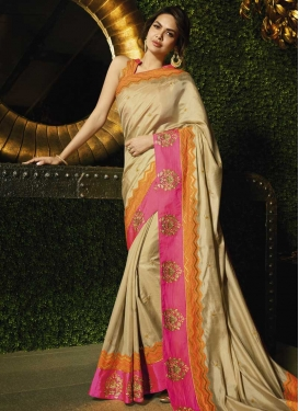 Embroidered Work Cream and Rose Pink Traditional Saree