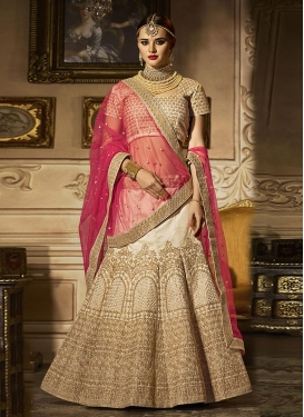 Embroidered Work Cream and Rose Pink Trendy Lehenga Choli