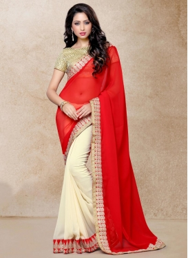 Embroidered Work Cream and Tomato Half N Half Trendy Saree