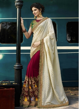 Embroidered Work Crimson and Off White Designer Half N Half Saree
