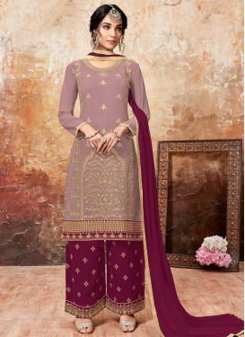 Embroidered Work Crimson and Pink Designer Palazzo Salwar Kameez