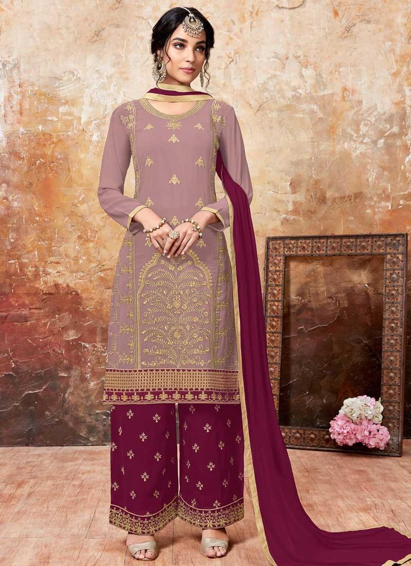 Embroidered Work Crimson and Pink Designer Palazzo Salwar Kameez