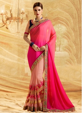 Embroidered Work Designer Half N Half Saree For Festival