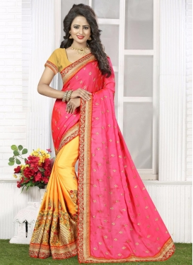 Embroidered Work Designer Half N Half Saree For Party