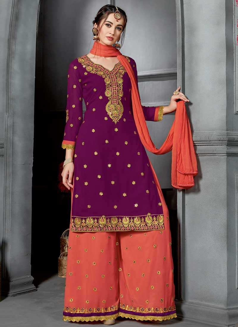 Embroidered Work Designer Palazzo Salwar Suit