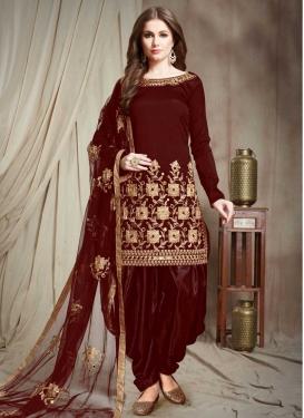 Embroidered Work Designer Semi Patiala Salwar Suit