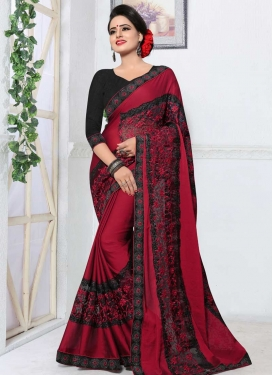 Embroidered Work Fancy Fabric Designer Traditional Saree