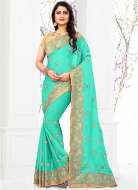 Embroidered Work Faux Chiffon Classic Saree For Ceremonial