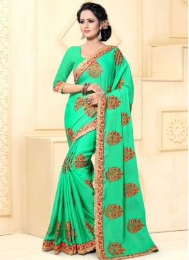 Embroidered Work Faux Chiffon Contemporary Style Saree For Ceremonial