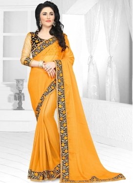 Embroidered Work Faux Chiffon Contemporary Style Saree For Festival