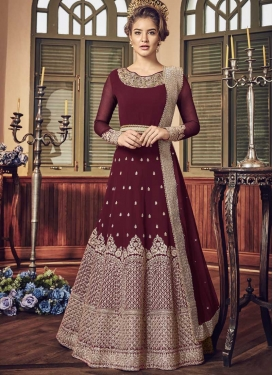 Embroidered Work Faux Georgette Anarkali Salwar Suit