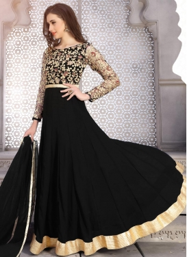 Embroidered Work Faux Georgette Ankle Length Anarkali Salwar Suit