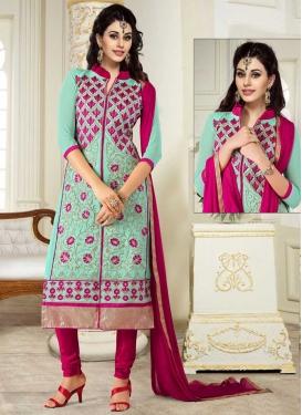 Embroidered Work Faux Georgette Aqua Blue and Fuchsia Trendy Churidar Salwar Kameez