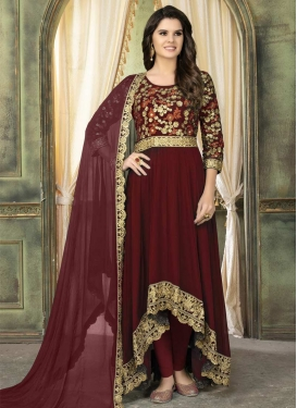 Embroidered Work Faux Georgette Asymmetrical Salwar Suit