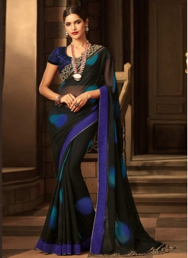 Embroidered Work Faux Georgette Black and Blue Contemporary Style Saree