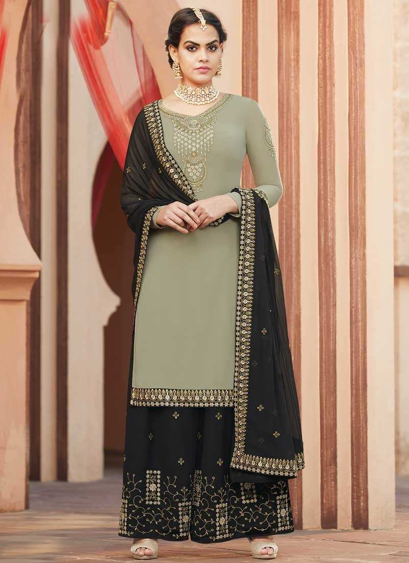 Embroidered Work Faux Georgette Black and Sea Green Palazzo Designer Salwar Suit