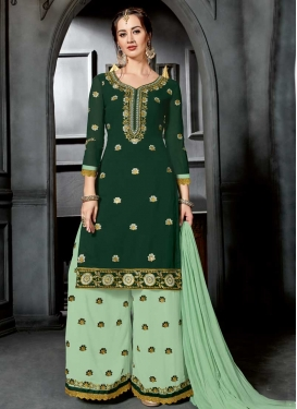 Embroidered Work Faux Georgette Bottle Green and Mint Green Designer Palazzo Salwar Kameez
