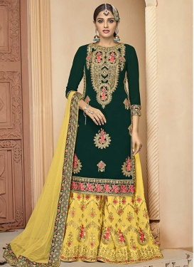 Embroidered Work Faux Georgette Bottle Green and Yellow Palazzo Designer Salwar Suit