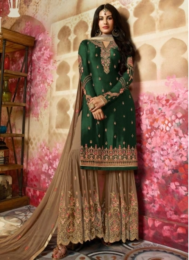 Embroidered Work Faux Georgette Brown and Green Sharara Salwar Suit