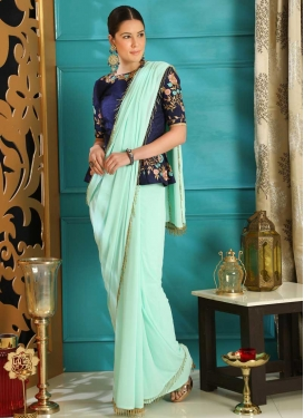 Embroidered Work Faux Georgette Classic Designer Saree For Ceremonial