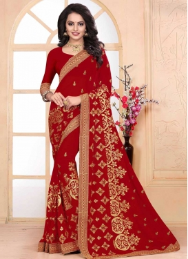 Embroidered Work Faux Georgette Classic Saree