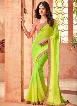 Embroidered Work Faux Georgette Contemporary Saree