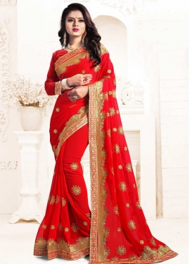 Embroidered Work Faux Georgette Contemporary Saree For Festival