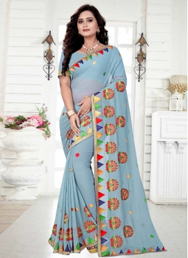 Embroidered Work Faux Georgette Contemporary Style Saree
