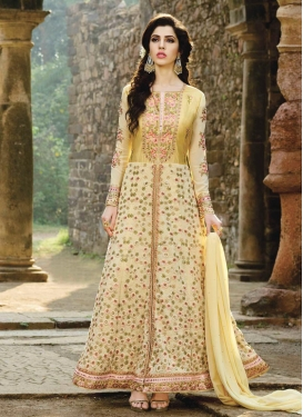 Embroidered Work Faux Georgette Cream and Yellow Trendy Designer Salwar Suit