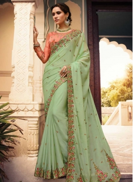 Embroidered Work Faux Georgette Designer Contemporary Saree For Festival