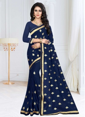 Embroidered Work Faux Georgette Designer Contemporary Style Saree