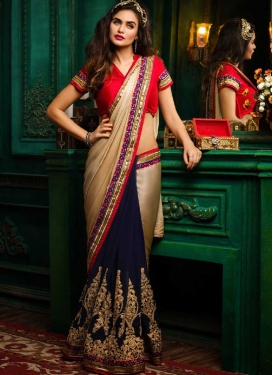 Embroidered Work Faux Georgette Designer Half N Half Saree