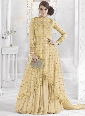 Embroidered Work Faux Georgette Designer Kameez Style Lehenga