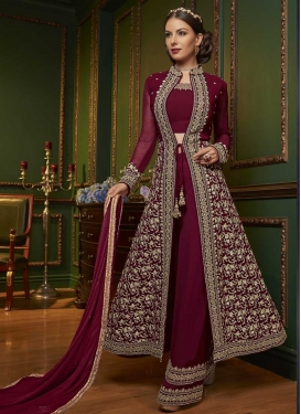 Embroidered Work Faux Georgette Designer Palazzo Salwar Kameez