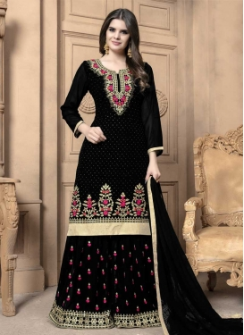 Embroidered Work Faux Georgette Designer Palazzo Salwar Suit