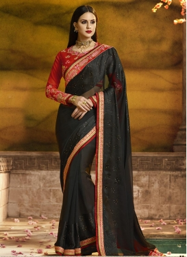 Embroidered Work Faux Georgette Designer Traditional Saree