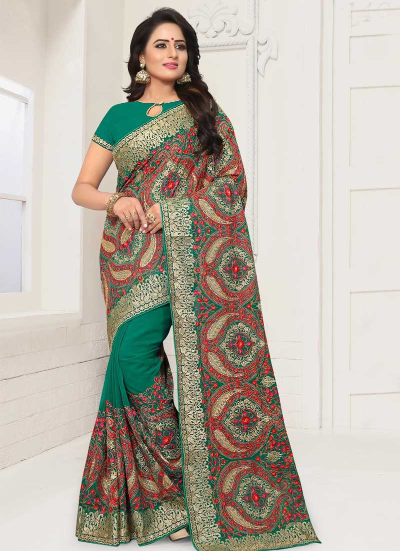 Embroidered Work Faux Georgette Designer Traditional Saree For Ceremonial