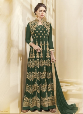 Embroidered Work Faux Georgette Floor Length Anarkali Salwar Suit