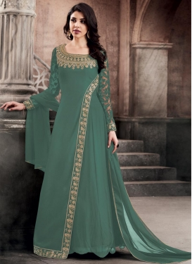 Embroidered Work Faux Georgette Floor Length Designer Salwar Suit