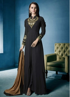 Embroidered Work Faux Georgette Floor Length Trendy Gown