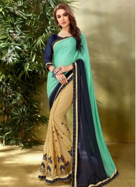 Embroidered Work Faux Georgette Half N Half Designer Saree