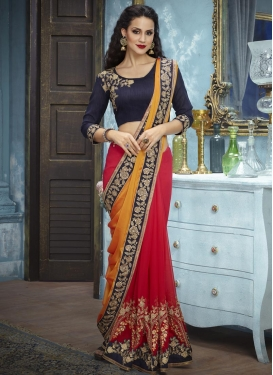 Embroidered Work Faux Georgette Half N Half Trendy Saree
