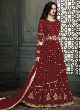 Embroidered Work Faux Georgette Layered Designer Salwar Kameez