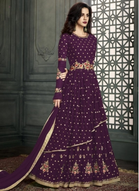 Embroidered Work Faux Georgette Layered Designer Salwar Suit