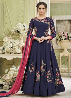 Embroidered Work Faux Georgette Long Length Anarkali Salwar Suit