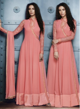 Embroidered Work Faux Georgette Long Length Designer Suit