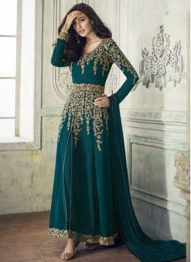 Embroidered Work Faux Georgette Long Length Salwar Kameez