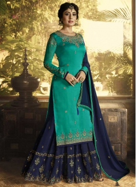 Embroidered Work Faux Georgette Navy Blue and Turquoise Sharara Salwar Suit